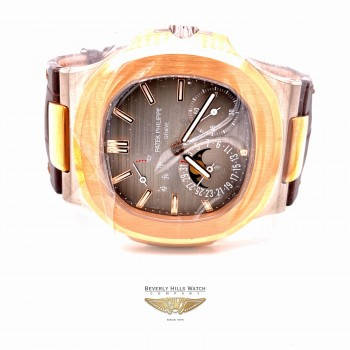 Patek Philippe Nautilus Rose Gold and Stainless Power Reserve Moon Dial 5712GR-001 - Beverly Hills Watch Company