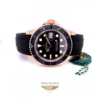 Rolex Yacht-Master 40mm Everose Rubber Strap 126655 5WDVQ8 - Beverly Hills Watch Company