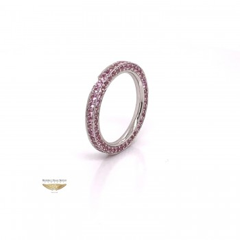 Pink Sapphire Stackable Eternity Band White Gold 6635 - Beverly Hills Watch and Jewelry Company