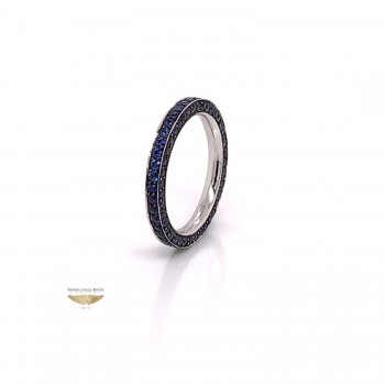 Blue Sapphire Stackable Eternity Band White Gold 6636 - Beverly Hills Watch and Jewelry Company