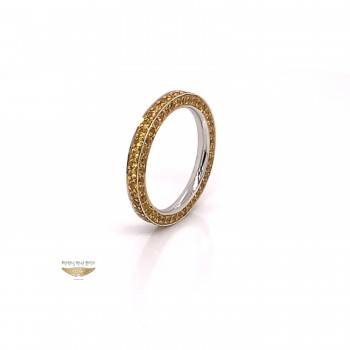 Yellow Sapphire Stackable Eternity Band White Gold 6637 - Beverly Hills Watch and Jewelry Company