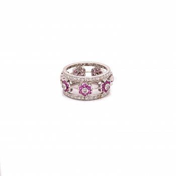 Naira & C Diamond and Pink Sapphire Floral White Gold Ring 6938