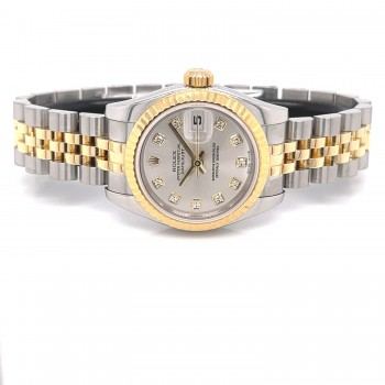 Rolex Datejust 26mm Stainless Steel Yellow Gold Silver Diamond Dial 179173 82TY8T - Beverly Hills Watch Company