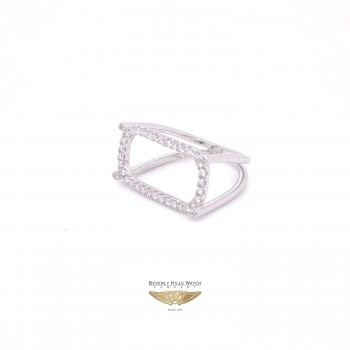 Naira & C Diamond Rectangular Open Ring White Gold 8JH9D5 - Beverly Hills Watch Company