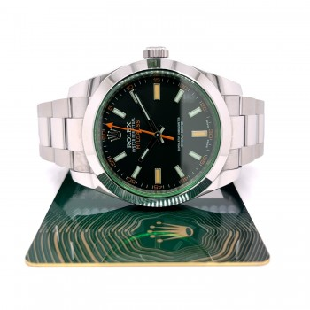 Rolex Milgauss 40mm Green Crystal Stainless Steel Black Dial 116400 8WRHY5 - Beverly Hills Watch Company