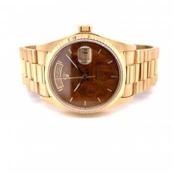 Rolex Day-Date President 18k Yellow Gold 36mm Wood Dial 18038 9QCEJ4 - Beverly Hills Watch Company