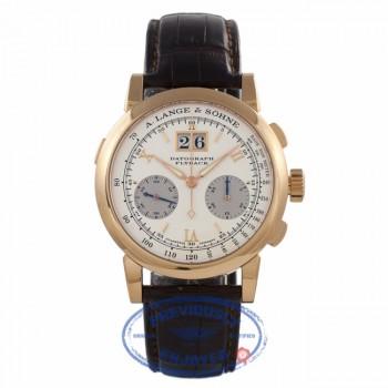 A. Lange & Sohne Datograph Flyback Chronograph Rose Gold Case Manual Wind Silver Roman Dial Watch 403.032/LS4034AD EHM98N - Beverly Hills watch Store