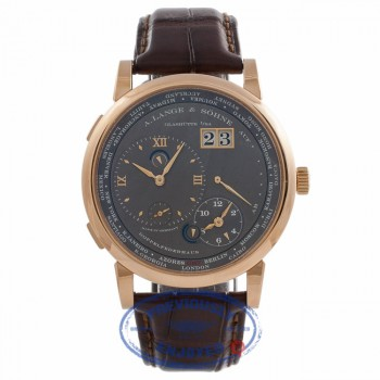 A.Lange & Sohne Lange 1 Time Zone 42MM Rose Gold Grey Dial Brown Alligator Strap 116.033 W6H3Z7 - Beverly Hills Watch Store