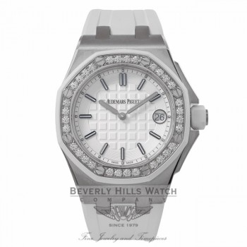 Audemars Piguet Offshore Lady Diamond Bezel Stainless Steel White Rubber Strap 67540SK.ZZ.A010CA.01 T0WRXE - Beverly Hills Watch Company Watch Store