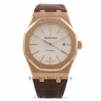 Audemars Piguet Royal Oak 41MM Rose Gold Silver Dial Brown Alligator Strap 15400OR.OO.D088CR.01 ZYQX5H - Beverly Hills Watch Company