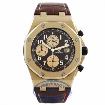Audemars Piguet Royal Oak Offshore L.E. Arnold Shwar. 18k Yellow Gold Brown Dial Brown Alligator Strap 26007BA.OO.D088CR K7DE0H - Beverly Hills Watch Company Watch Store
