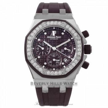 Audemars Piguet Royal Oak Offshore Chronograph 37MM Stainless Steel Diamond Bezel Purple Dial 26048SK.ZZ.D066CA.01 2CVNKN - Beverly Hills Watch Company Watch Store