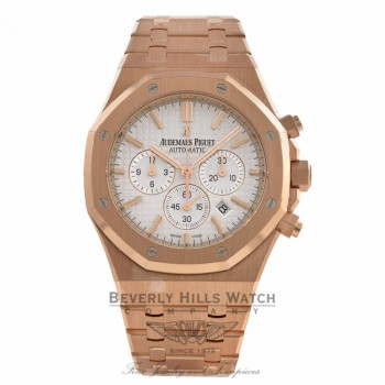 Audemars Piguet Royal Oak Chronograph Rose Gold Silver Dial 26320OR.OO.1220OR.02 V3A5U3 - Beverly Hills Watch Company