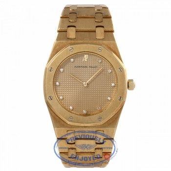 Audemars Piguet Royal Oak Ladies 18k Yellow Gold Champagne Diamond Dial ENEKER - Beverly Hills Watch Company Watch Store