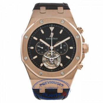 Audemars Piguet Royal Oak Tourbillon Chronograph 18k Rose Gold Black Dial Black Alligator Strap 25977OR.OO.D002CR.01 - Beverly Hills Watch Store