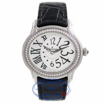 Audemars Piguet Ladies Millenary Stainless Steel White Dial Diamond Bezel 77301ST.ZZ.015CR.01 HG6XVZ - Beverly Hills Watch Company Watch Store