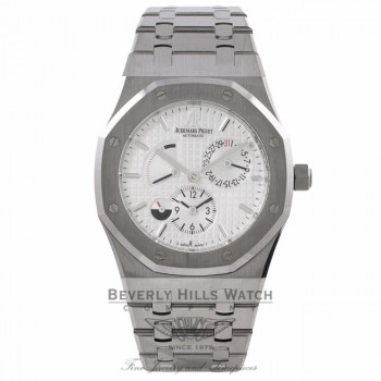 Audemars Piguet Royal Oak Dual Time Power Reserve 39MM Stainless Steel Silver Dial 26120ST.OO.1220ST.01 QJXVTC - Beverly Hills Watch Company Watch Store