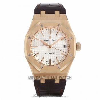 Audemars Piguet 37mm Royal Oak Automatic Silver Dial 18k Rose Gold 15450OR.OO.D088CR.01 FZXCCL - Beverly hills watch