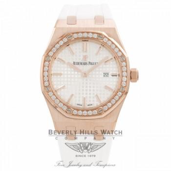 Audemars Piguet Royal Oak 33MM Ladies Rose Gold Diamond Bezel Rubber Strap 67651OR.ZZ.D010CA.01 - Beverly Hills Watch Company Watch Store