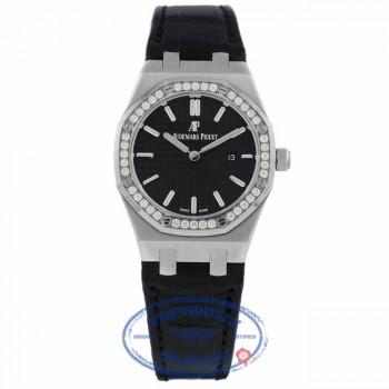 Audemars Piguet Royal Oak 33MM Ladies Stainless Steel Diamond Bezel Black Dial Alligator Strap 67651ST.ZZ.D002CR.01 QZHR2V - Beverly Hills Watch Company