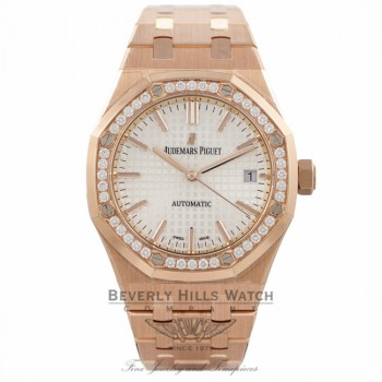 Audemars Piguet Royal Oak 37MM 18k Rose Gold Diamond Bezel 15451OR.ZZ.1256OR.01 2KCQMM - Beverly Hills Watch Company