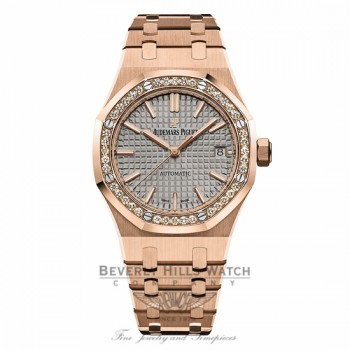 Audemars Piguet 37mm Royal Oak Automatic Ladies Diamond 15451OR.ZZ.1256OR.02 ZLRDE6 - Beverly Hills Watch