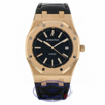 Audemars Piguet Royal Oak 39MM Automatic 18k Rose Gold Black Dial Black Strap 15300OR.OO.D002CR.01 7977Z5 - Beverly Hills Watch Company