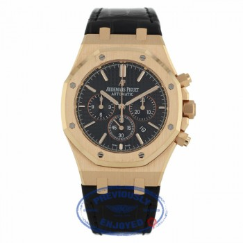Audemars Piguet Royal Oak Chronograph 41MM Rose Gold Black Dial Black Alligator Strap 26320OR.OO.D002CR.01 23U77M - Beverly Hills Watch Company