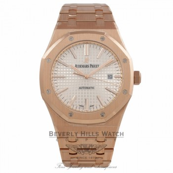 Audemars Piguet Royal Oak 41MM 18k Rose Gold Silver Dial 15400OR.OO.1220OR.02 0NVY3Q - Beverly Hills Watch Company Watch Store