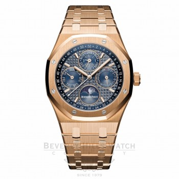 Audemars Piguet Royal Oak Perpetual Calendar Blue Dial Automatic Men's 18 Carat Rose Gold 26574OR.1220OR.02 375QDF - Beverly Hills Watch