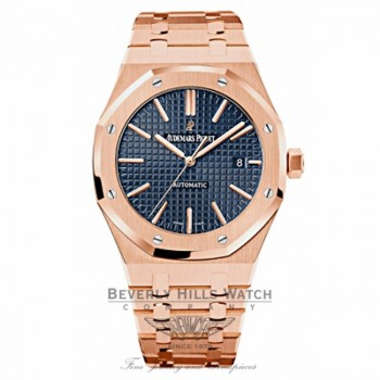 Audemars Piguet Royal Oak 41mm Blue Dial Rose Gold 15400OR.OO.1220OR.03 X6XXY7 - Beverly Hills Watch