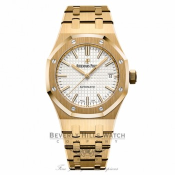 Audemars Piguet 37mm Royal Oak Silver Dial Automatic 18k Yellow Gold Ladies 15450BA.OO.1256BA.01 6FKLQV - Beverly Hills Watch