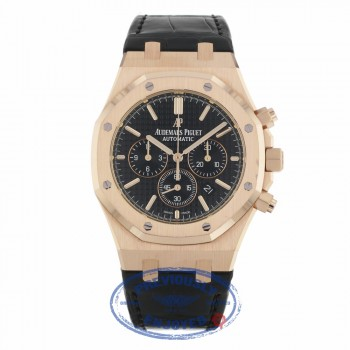 Audemars Piguet Royal Oak Chronograph 41MM Rose Gold Black Dial Black Alligator Strap 26320OR.OO.D002CR.01 LX0822 - Beverly Hills Watch Company