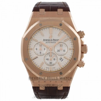 Audemars Piguet Royal Oak Chronograph 41MM 18k Rose Gold Silver Dial 26320OR.OO.D088CR.01 JWY7WP - Beverly Hills Watch Company Watch Store