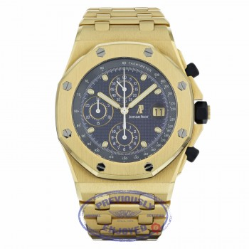 Audemars Piguet Royal Oak Offshore Chronograph 44mm 18K Yellow Gold Blue Dial 25721BA.OO.1000BA.02 VY4AUP - Beverly Hills Watch Company
