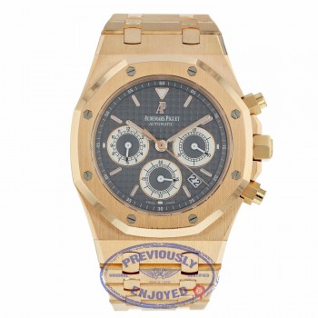 Audemars Piguet Royal Oak 39MM Chronograph Slate Dial Rose Gold Bracelet 25960OR.1185OR.03 L9F394 - Beverly Hills Watch Compnay