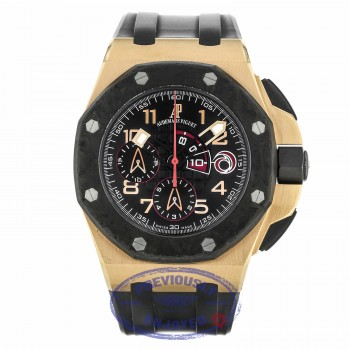 Audemars Piguet 44mm Black Dial Chronograph 18k Rose Gold Black Rubber 26062OR.OO.A002CA.01 Q6XA9L - Beverly Hills Watch