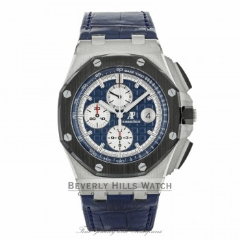 Audemars Piguet Royal Oak Offshore Blue Alligator Leather 26401PO.OO.A018CR.01 V4JL64 - Beverly Hills Watch