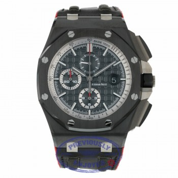 Audemars Piguet 44mm Offshore Chronograph Black Ceramic Bezel Black Dial Rubber Strap 26405CE.OO.A002CA.01 DQDJTR - Beverly Hills Watch Company