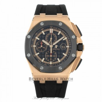 Audemars Piguet Royal Oak Offshore Rose Gold 44mm Black Dial Chronograph 26401RO.OO.A002CA.02 VEUYT9 - Beverly Hills Watch