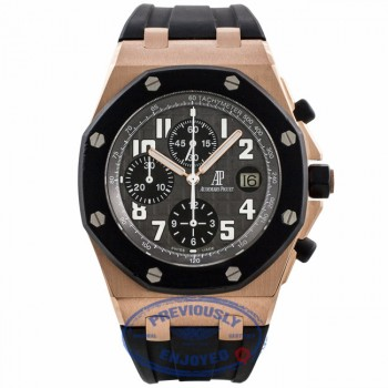 "Audemars Piguet Royal Oak Offshore ""Rubber Clad"" 18k Rose Gold Grey Dial Black Rubber Strap 25940OK.OO.D002CA.01.A UPDP4T - Beverly Hills Watch Company Watch Store"