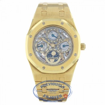 Audemars Piguet Royal Oak Perpetual Calendar Yellow Gold Skeleton Dial Watch 39MM 25829BA.OO.0944BA.01 JT1F40 - Beverly Hills Watch Company