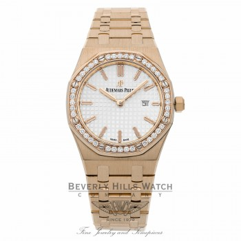 Audemars Piguet 18k Rose Gold 33mm Royal Oak Quartz Diamond Bezel 67651OR.ZZ.1261OR.01 MP6NM1 - Beverly Hills Watch