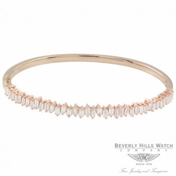 Naira & C Diamond Baguette Bangle Bracelet Rose Gold 46PV2M - Beverly Hills Jewelry Store