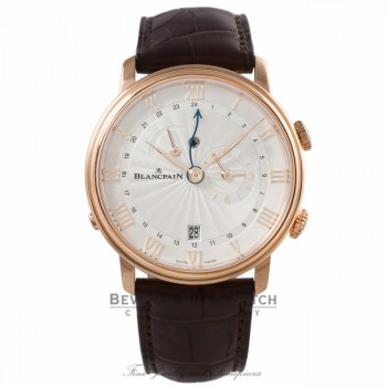 Blancpain Villeret Reveil GMT 40MM 18k Rose Gold Silver Dial 6640-3642-55B 983PJT - Beverly Hills Watch Company Watch Store