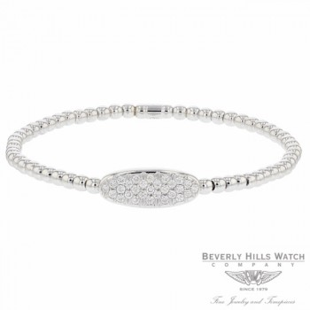 Naira & C 18k White Gold Stretch Oval Shape Diamonds Bracelet 5UHHZZ - Beverly Hills Jewelry Store