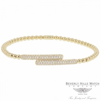 Naira & C 18k Yellow Gold stretch Cross Over Diamond Bracelet OM-PLI026/300/B TPA5K3 - Beverly Hills Jewelry Company