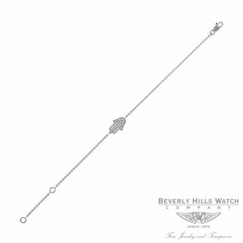 Naira & C Hamsa Diamond White Gold Bracelet PXAUQZ - Beverly Hills Jewelry Store