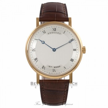 Breguet Classique Ultra Slim 38MM Automatic 18k Yellow Gold Silver Dial Brown Alligator Strap 5157BA119V6 YH9NHZ - Beverly Hills Watch Company Watch Store