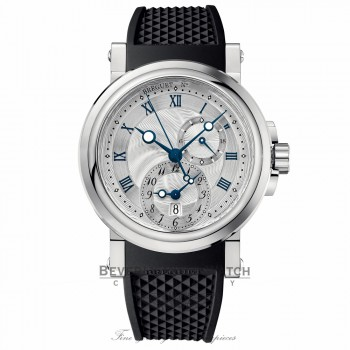Breguet Marine Dual Time Silver Dial Black Rubber 5857ST/12/5ZU NLYZZ9 - Beverly Hills Watch